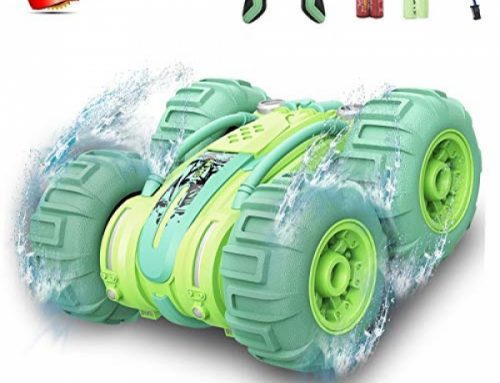Water-resistant RC Far off Bear an eye on Stunt Car, 2.4Ghz four wheel pressure Water and Land RC Car Boat Truck 360 Level Spinning and Flips Racing Car Toys for Children Christmas Birthday Gift (Green)