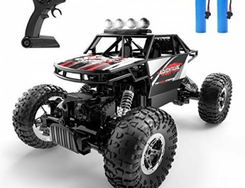 DEERC DE45 RC Vehicles A ways off Adjust Car 1:14 Off Road Monster Truck,Steel Shell four wheel drive Dual Motors LED Headlight Rock Crawler,2.4Ghz All Terrain Hobby Truck with 2 Batteries for 90 Min Play,Boy Adult Items