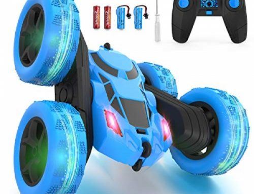 Hamdol Far away Adjust Car Double Sided 360°Rotating Four wheel power RC Autos with Headlights 2.4GHz Electrical Sprint Stunt Toy Car Rechargeable Toy Autos for…